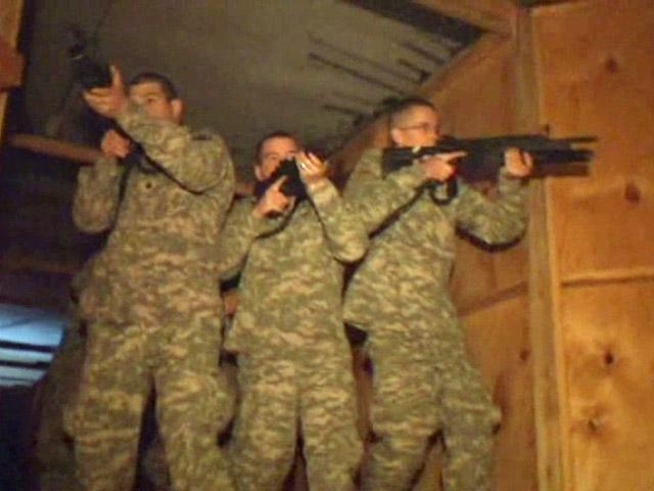 Soldiers practiced clearing rooms, dealing with hostiles inside haunted house