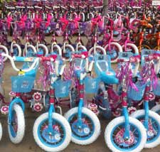 Bicycles lined up for Christmas toy drive.