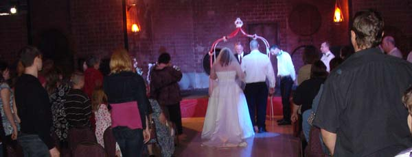 Tradition wedding ceremony in a Haunted House.