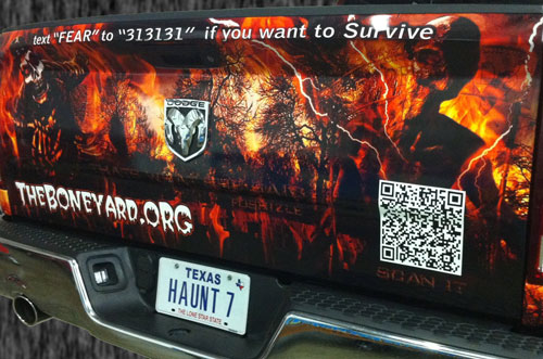Haunted House QR codes on wrapped vehicle graphics