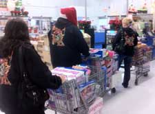 Shopping carts loaded with Toys for Christmas toy Drives.