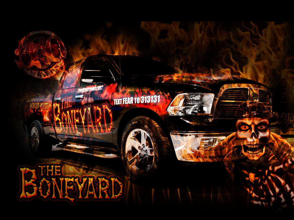 Boneyard Haunted House Promoting With Vehicle Graphics