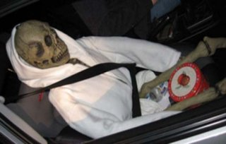 Halloween skeleton prop used in hov lane