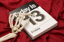 Friday the 13th Skeleton hand on calendar